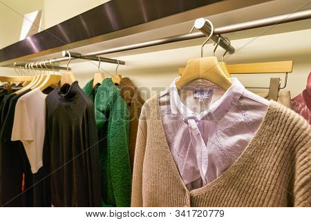 HONG KONG, CHINA - JANUARY 23, 2019: clothes on display at agnes b. store in New Town Plaza. New Town Plaza is a shopping mall in the town centre of Sha Tin, Hong Kong.