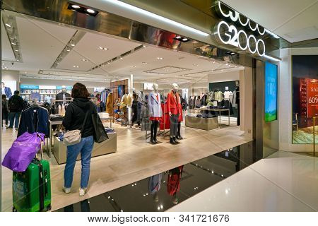 HONG KONG, CHINA - JANUARY 23, 2019: entrance to G2000 store in New Town Plaza. New Town Plaza is a shopping mall in the town centre of Sha Tin, Hong Kong.