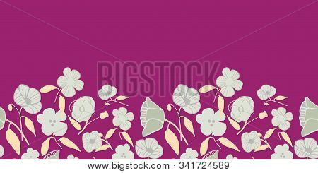 Abstract Poppies Seamless Vector Border. Purple Background, Ecru And Grey. Great Summer Look For Fas