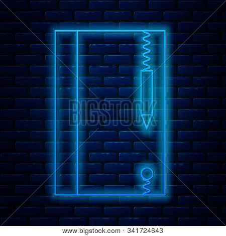 Glowing Neon Line Underwater Note Book And Pencil For Snorkeling Icon Isolated On Brick Wall Backgro