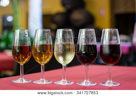 Sherry Wine Tasting, Selection Of Different Jerez Fortified Wines From Dry To Very Sweet, Jerez De L