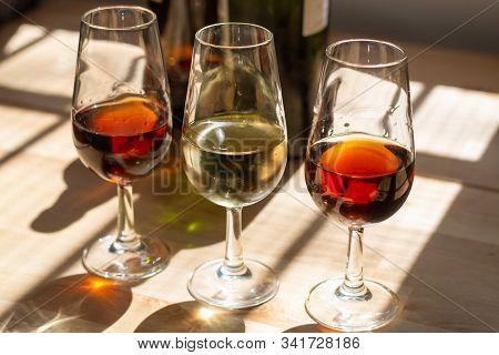Sherry Wine Tasting, Selection Of Different Jerez Fortified Wines From Dry To Very Sweet In Glasses,
