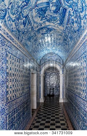 Nazare, Portugal - 20 August 2019: Interior Corridor With Magnificent Azulejo Tiling In The Nossa Se