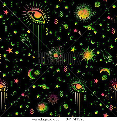 Space Galaxy Constellation Seamless Pattern Print Could Be Used For Textile, Zodiac Star Yoga Mat, P