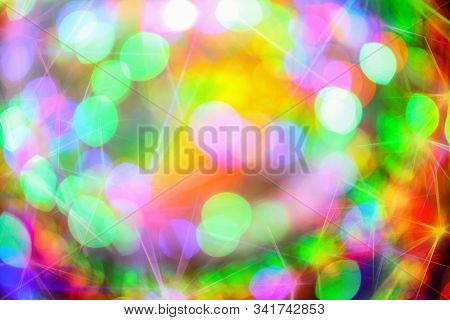 Background With Defocused Lights. Laser Show. Disco Party.