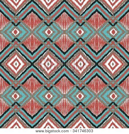 Marine Bohemian Chevron. Indigo Shibori Vector Seamless Pattern. Indian Tile Watercolor Print. Crims