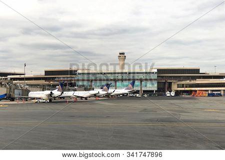 Newark, Nj - Oct 28, 2019:  Airplanes At The Terminal, Ready For Boarding At Newark International Ai