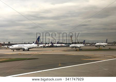 Newark, Nj - Oct 28, 2019:  Airplanes On The Runway Ready For Departure At Newark International Airp