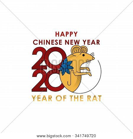 2020 Colorful Vector Text Isolated On White Background, Chinese New Year 2020, 2020 Text For Chinese