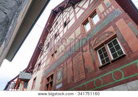 Stein Am Rhein, Switzerland - October 2019: Exterior Of Historic Buildings At Rathausplatz, A Town S