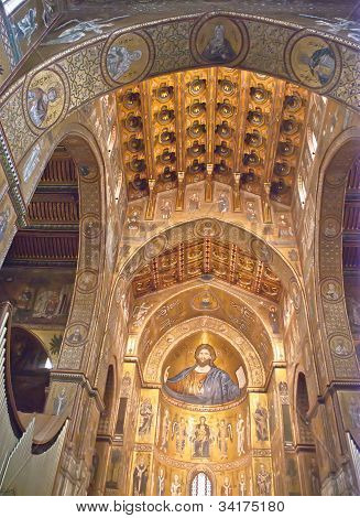 Cathedral Of Monreale. Golden Mosaics. Sicily