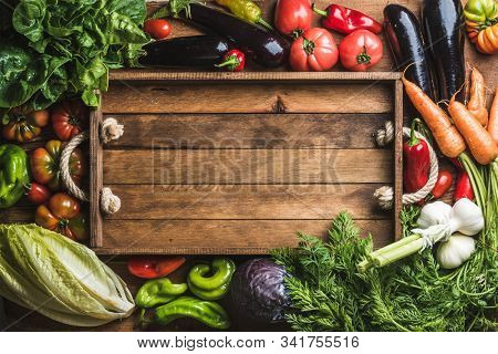 Vegetarian Food With Fresh Fruit, Vegetables, Herbs And Spices With Super Foods. Diet And Healthy Fo