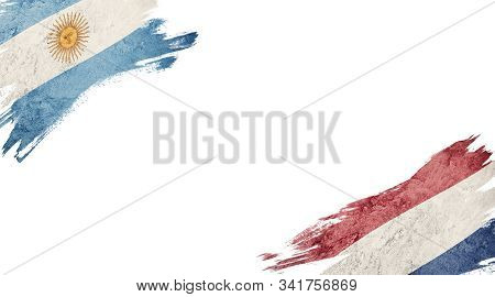 Flags Of Argentina Andnederland On White Background