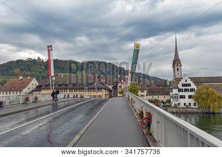 Stein Am Rhein, Switzerland - October 2019: Rhine River Bridge Connecting Two Parts Of Old Town Stei