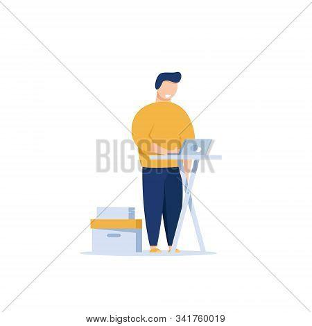 Businessman In Office Suit Works On Laptop Behind Modern Ergonomic Standing Desk