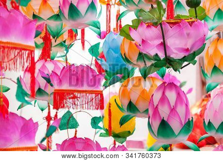 Group of Traditional colorful Chinese Lotus shaped Lanterns hanging for Chinese new year and Chinese lantern Festival in a park, Fuzhou,Fujian,China