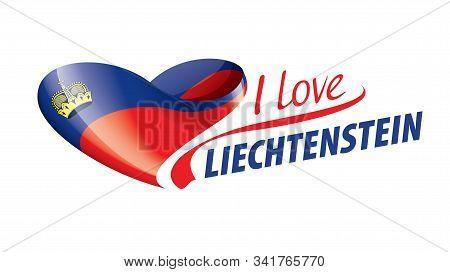 The National Flag Of The Liechtenstein And The Inscription I Love Liechtenstein. Vector Illustration