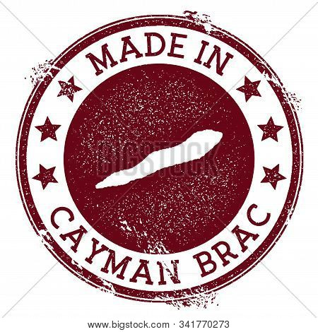 Made In Cayman Brac Stamp. Grunge Rubber Stamp With Made In Text And Island Map. Energetic Vector Il