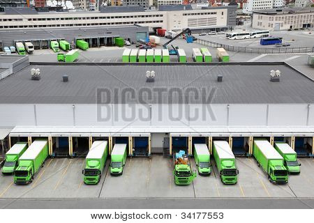 BERGEN - JUNE 27: Trade trucks on JUNE 27, 2011 in Bergen, Norway. Norway takes 8th place in world ranking of competitiveness. This rating shows how states can create conditions for economic growth.
