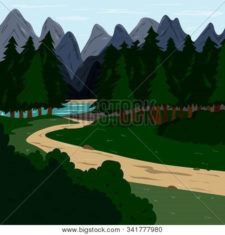 Footpath In A Forest With Mountain Landscape On The Horizon. The Journey Through The Wild And Reserv