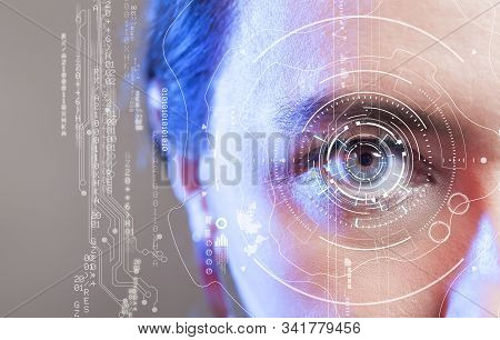 Human Eye And Graphical Interface. Smart Wearable Technology Concept