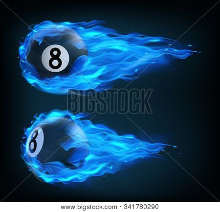 Flying Black Billiard Eight Ball In Blue Fire Isolated On Black Background. Vector Realistic Pool Or