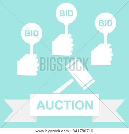 Auction, Auction Bidding. Buying A Lot At Auction. Vector Illustration.