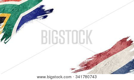 Flags Of South Africa Andnederland On White Background