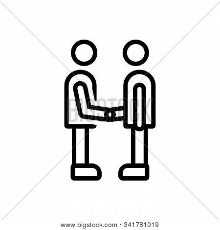 Black Line Icon For Partner Fellow Companion Friend Buddy Dost Handshake
