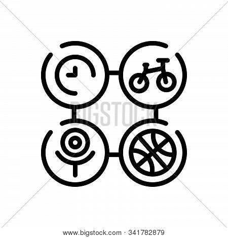 Black Line Icon For Activity Stir Bustling Bustle Hobby