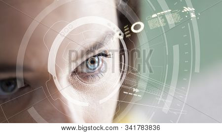 Iris Recognition Concept. Smart Wearable Eye-compatible Computer