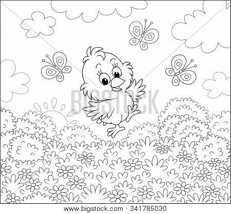 Cute Little Chick Dancing For Joy With Funny Butterflies Among Wild Flowers Of A Pretty Lawn On A Su