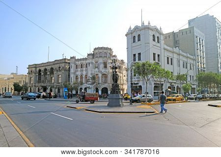 Street Scene Of Plaza San Martin Or St. Martin Square Of Lima, Peru, South America, 19th May 2018