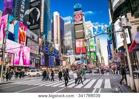New York City, Usa-Jan 13, 2019: Times Square, featured with Broadway Theaters and LED signs, is a symbol of New York City, Manhattan. New York City. United States