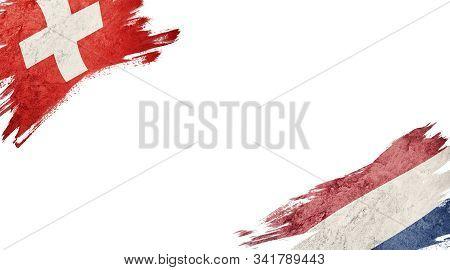 Flags Of Switzerland Andnederland On White Background