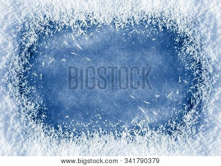 Winter Background: Close-up Of Frozen Ice With Snow Crystals And Snowflakes Toned In Trendy Classic
