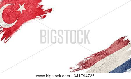 Flags Of Turkey Andnederland On White Background