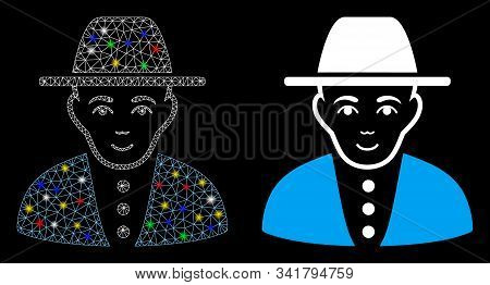 Glossy Mesh Jew Icon With Glitter Effect. Abstract Illuminated Model Of Jew. Shiny Wire Frame Triang