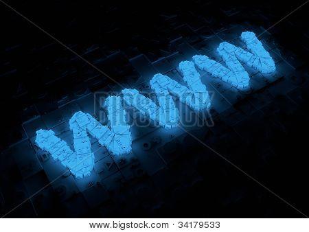 Glowing www typography