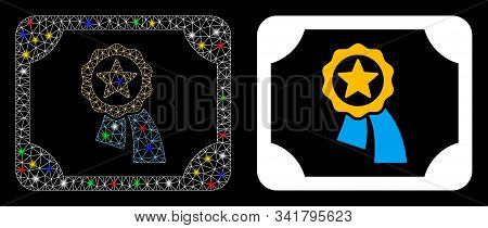 Glowing Mesh Valid Diploma Icon With Glitter Effect. Abstract Illuminated Model Of Valid Diploma. Sh