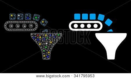 Glowing Mesh Conveyor Feeding Icon With Sparkle Effect. Abstract Illuminated Model Of Conveyor Feedi