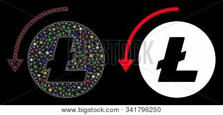 Glossy Mesh Refund Litecoin Icon With Sparkle Effect. Abstract Illuminated Model Of Refund Litecoin.