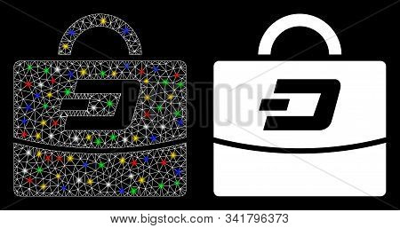 Flare Mesh Dash Accounting Case Icon With Glare Effect. Abstract Illuminated Model Of Dash Accountin