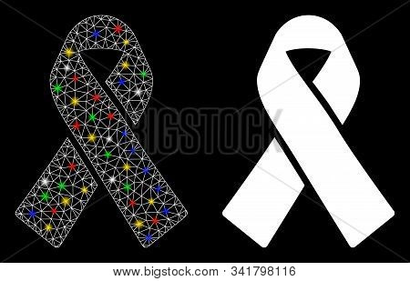 Glowing Mesh Mourning Ribbon Icon With Glare Effect. Abstract Illuminated Model Of Mourning Ribbon.
