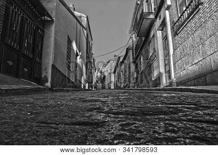 Avila City Common Street View In Black And White