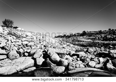 Black And White Stoned River Stone On The Shore