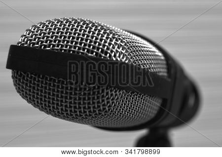 Close Up, Black And White Microphone Head
