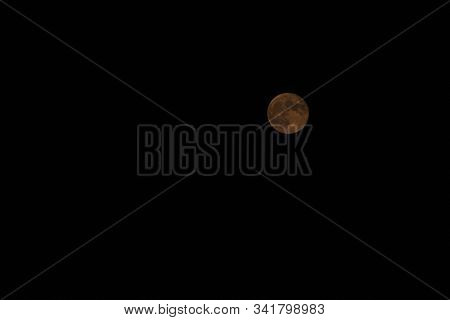 Isolated Full Moon Of Blood (partial Eclipse)