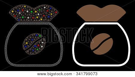 Glossy Mesh Coffee Grain Icon With Glitter Effect. Abstract Illuminated Model Of Coffee Grain. Shiny