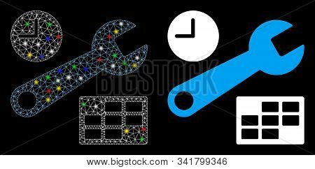 Glossy Mesh Date And Time Setup Icon With Sparkle Effect. Abstract Illuminated Model Of Date And Tim